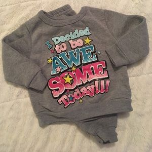 12 month sweat suit. Gray